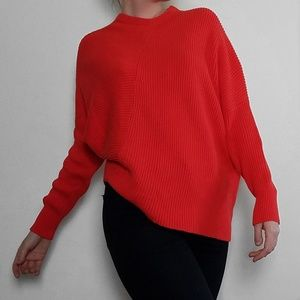 Free People Asymmetrical Red Crew Neck Sweater